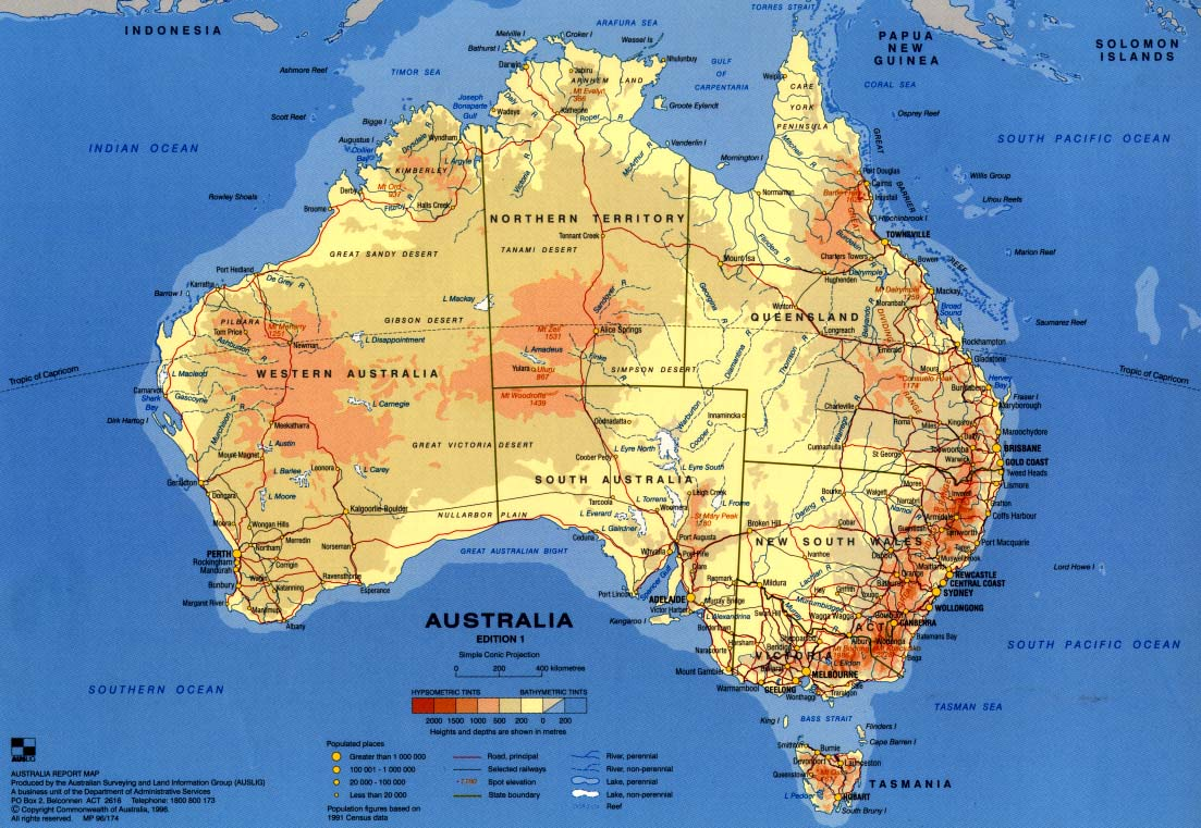 Физическая карта австралии english