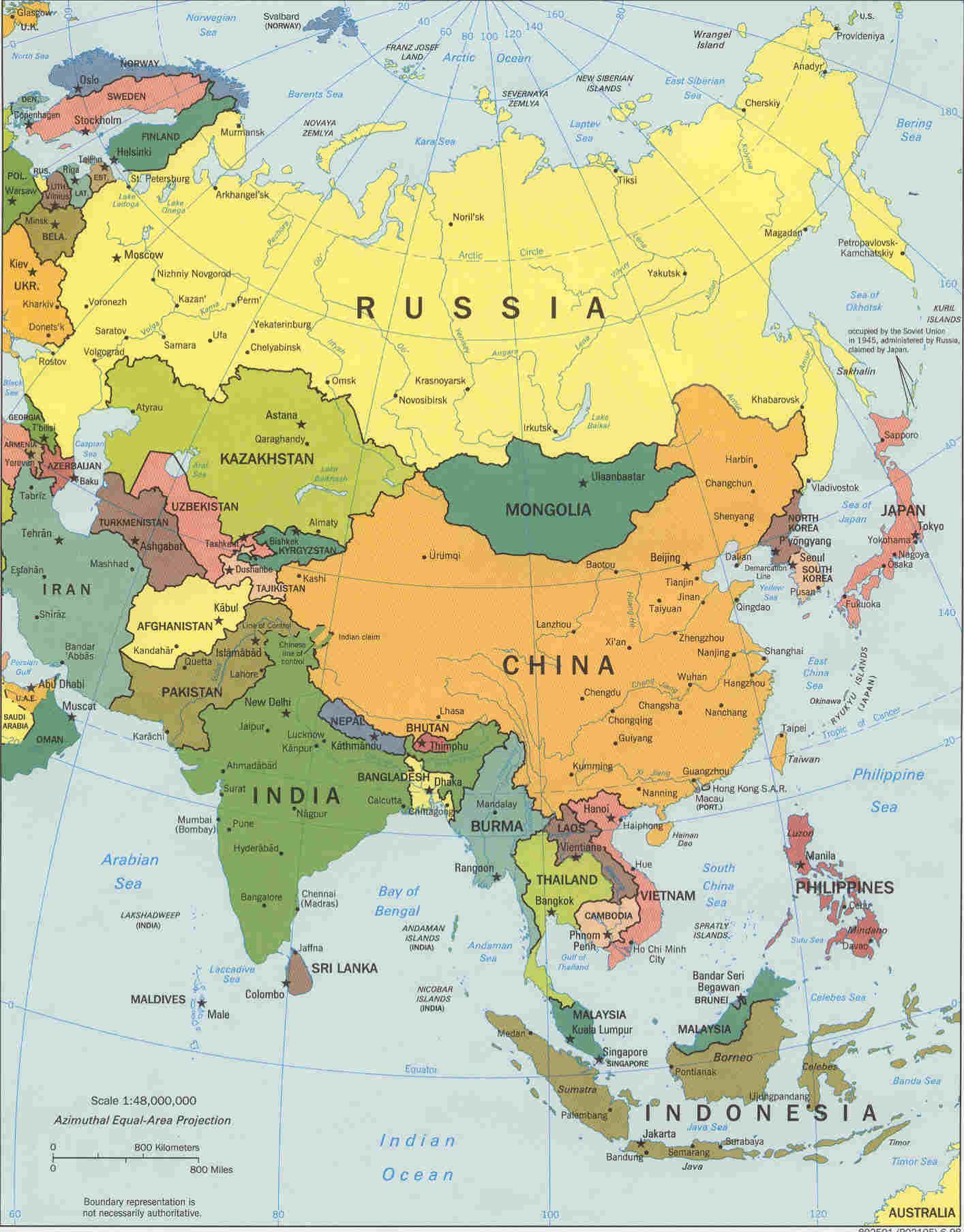 Карта азии на английском языке