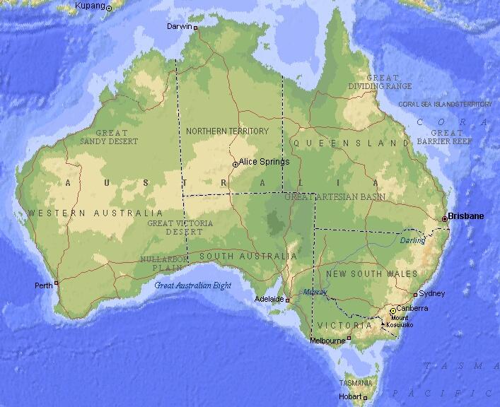 Полит и физическая карта австралии eng