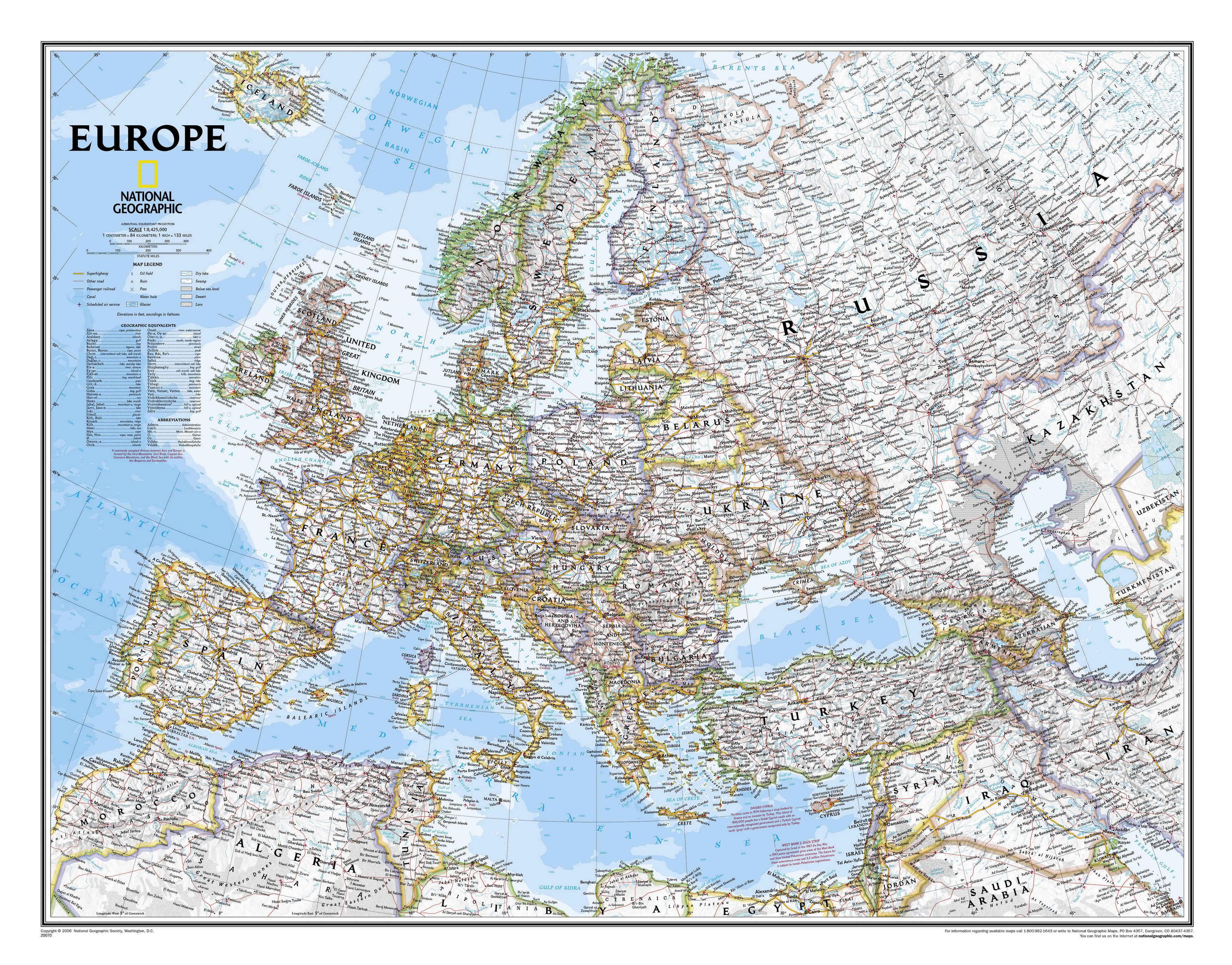 Подробная полит карта европы англ