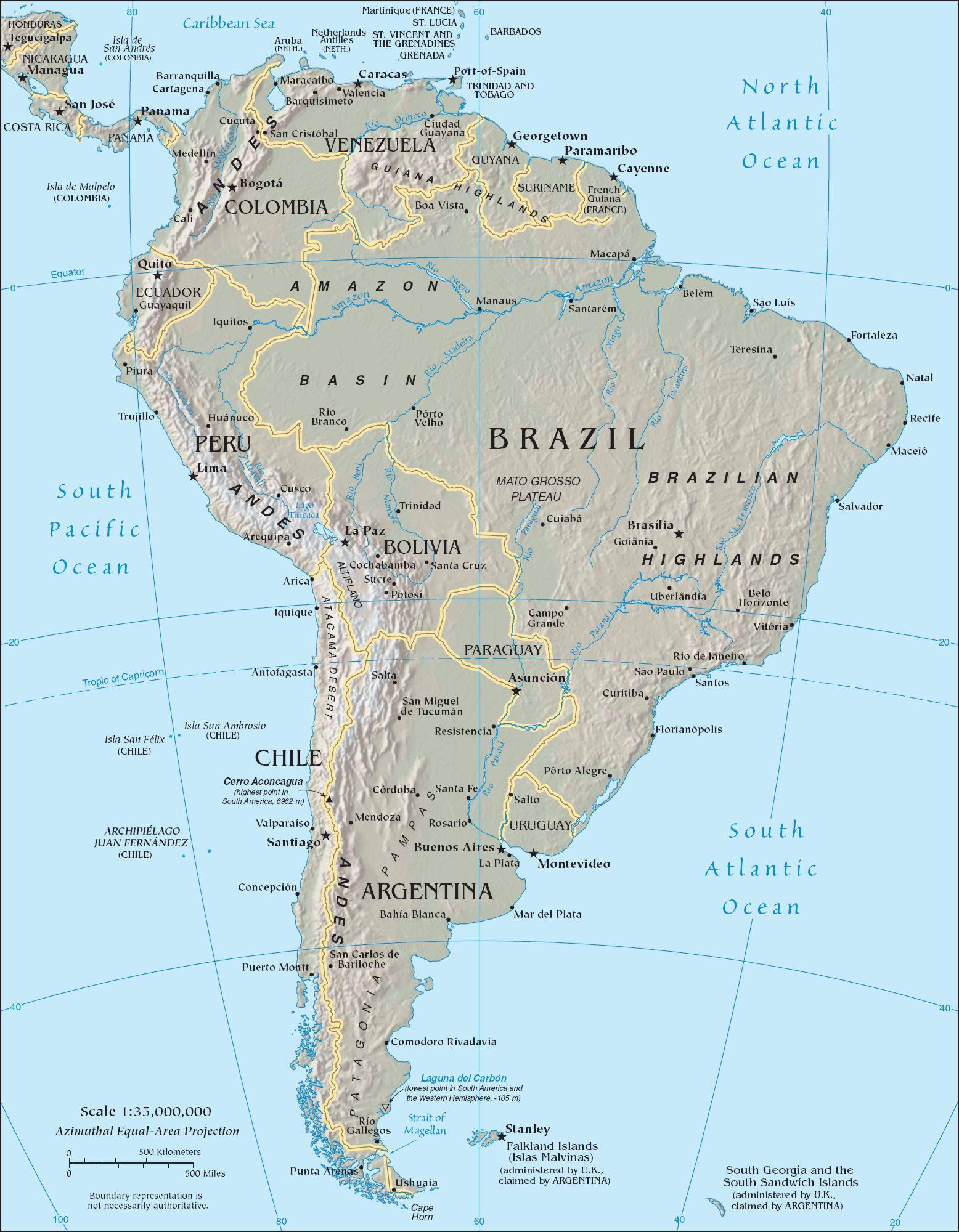 Политическая карта южной америки с