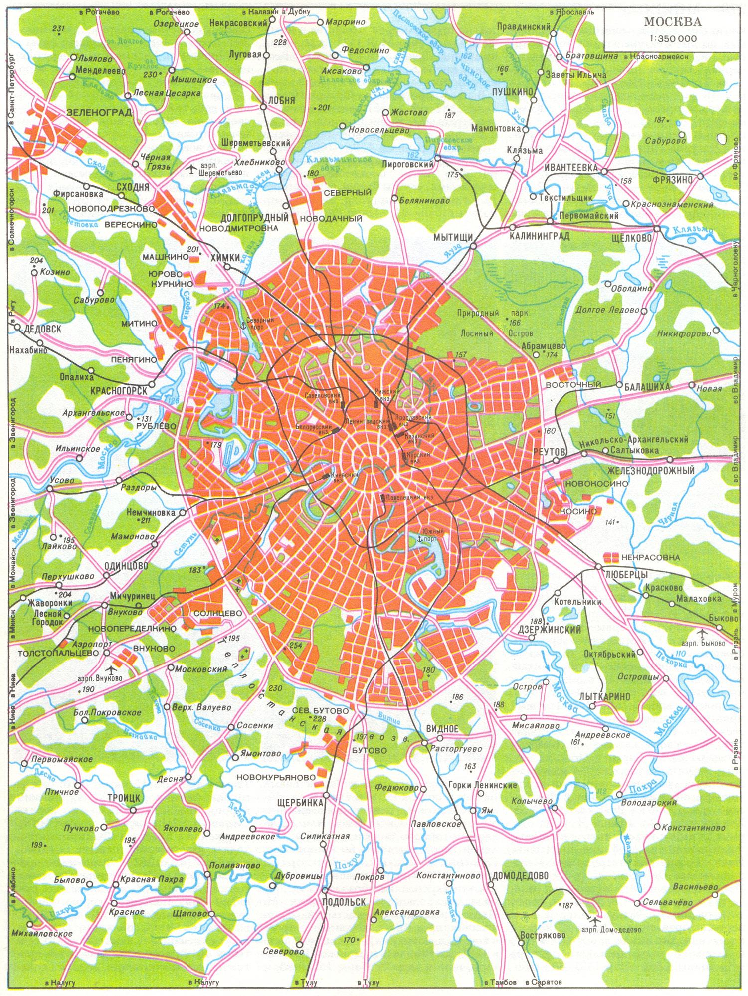 Топографическая карта москвы и