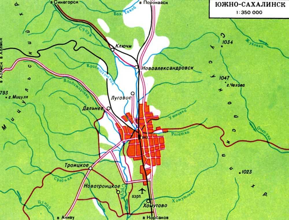карта южно сахалинск