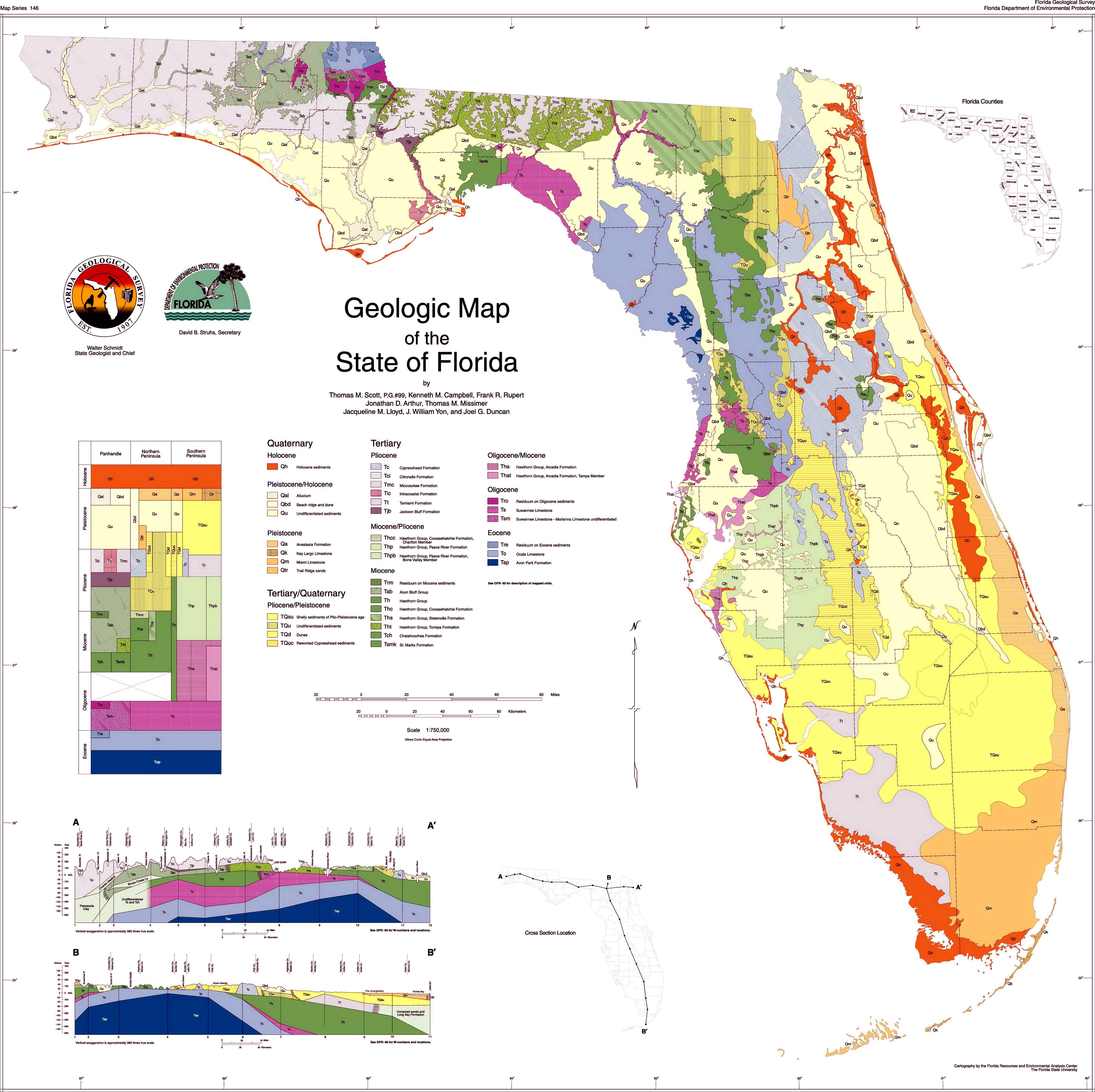Геологическая карта Флориды