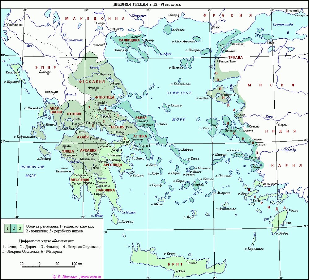 Карта Древней Греции IX-VI вв. до н.э.