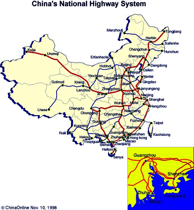 Карта дорог Китая