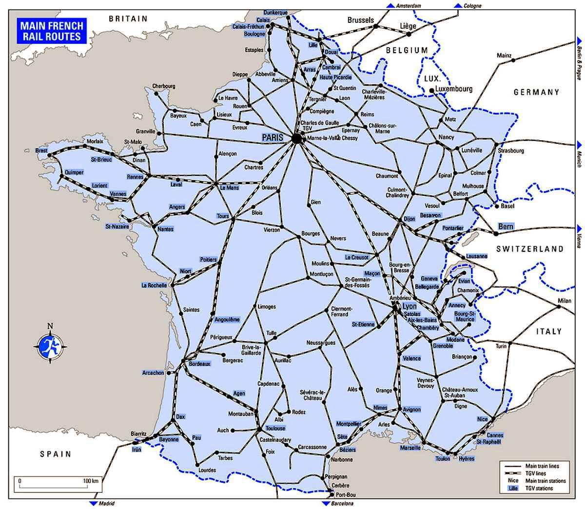 Схема поездов франции