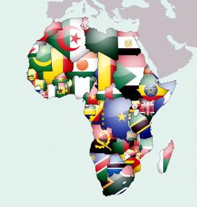 Карта с флагами стран Африки