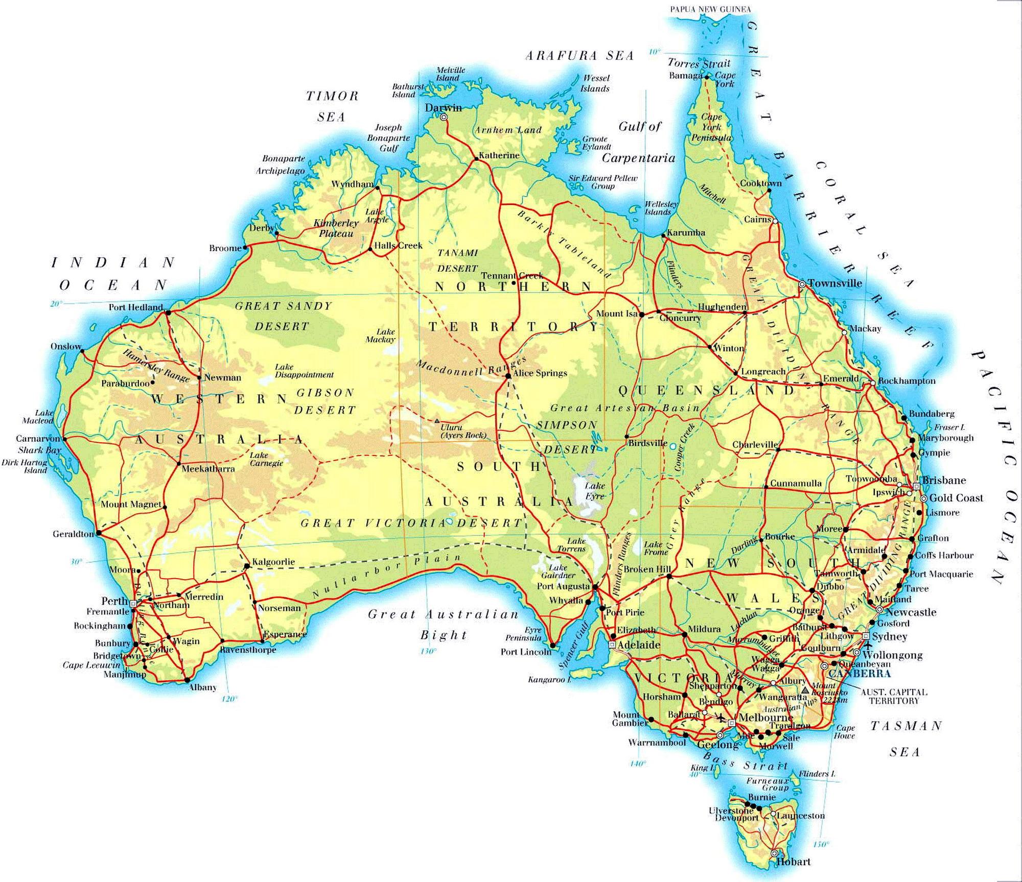 Карта австралии на англ языке