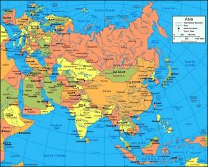 Политическая карта Евразии на английском языке