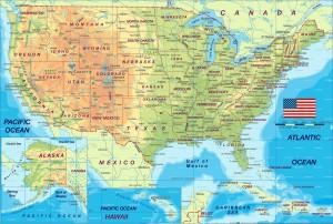 Физическая карта США на английском языке