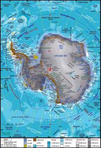 Физическая карта Антарктиды на английском языке
