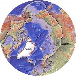 Физическая карта рельефа Арктики