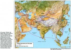 Карта торговых путей Евразии. 14 век н.э.