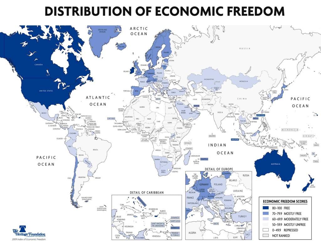 Карта уровня экономической свободы в мире