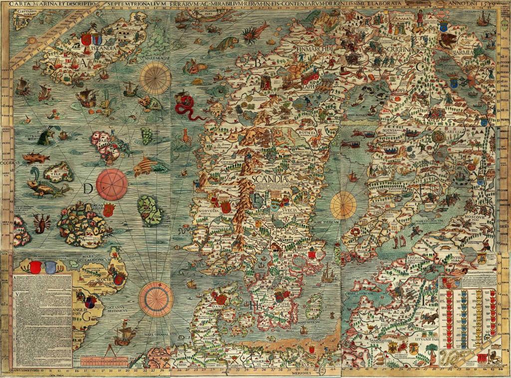 Северная Европа - средневековая карта