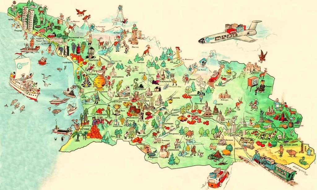 Русскоязычная туристическая карта Грузии, Южной Осетии и Абхазии