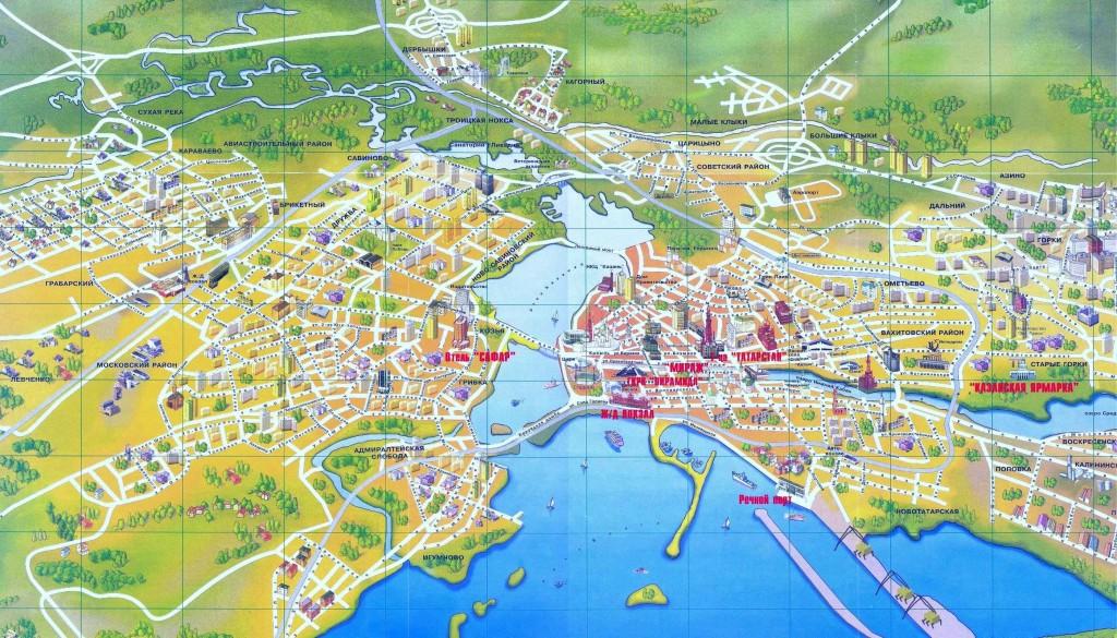 Туристическая карта всей Казани