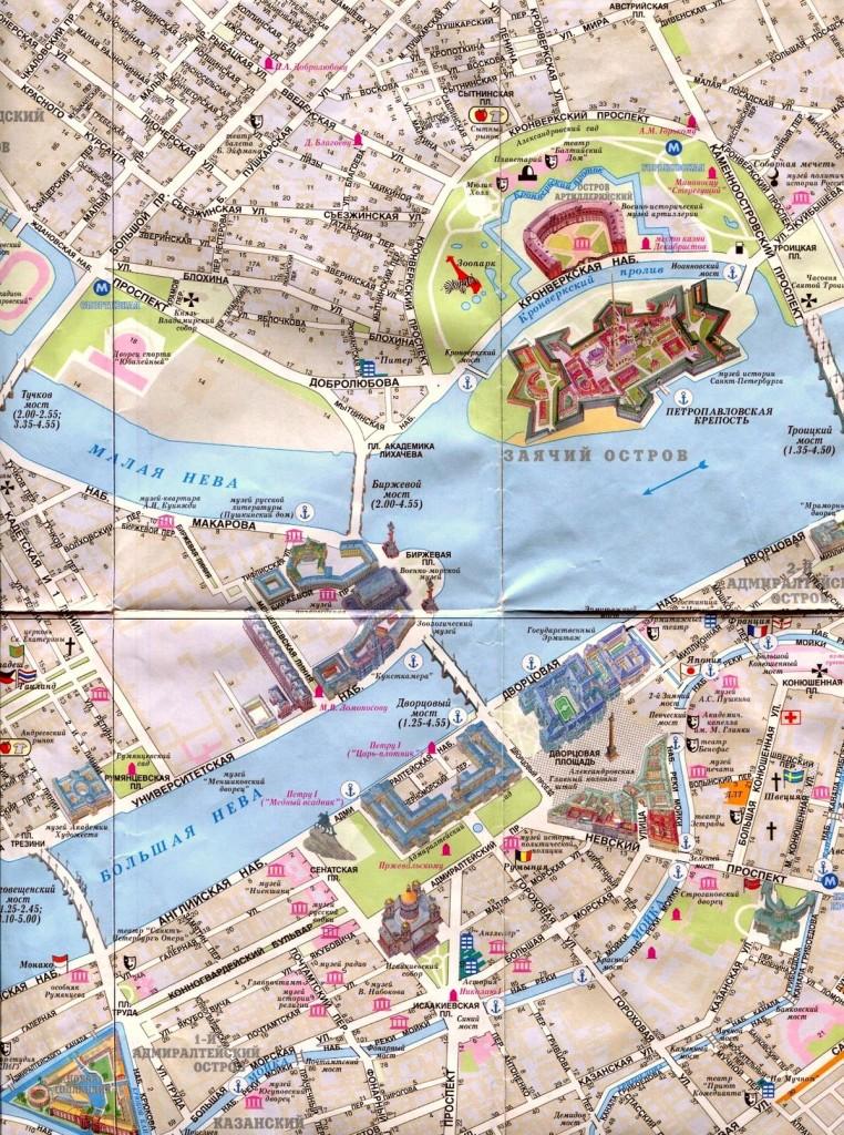 Исторический центр Санкт-Петербурга на туристической карте