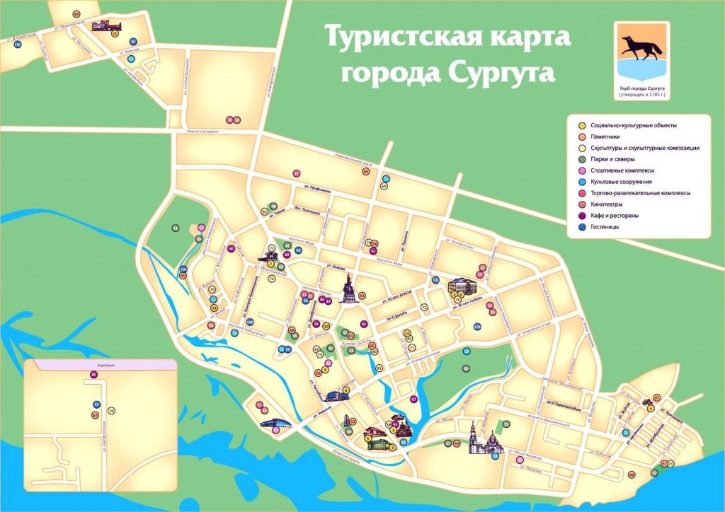 Город Сургут на туристической карте