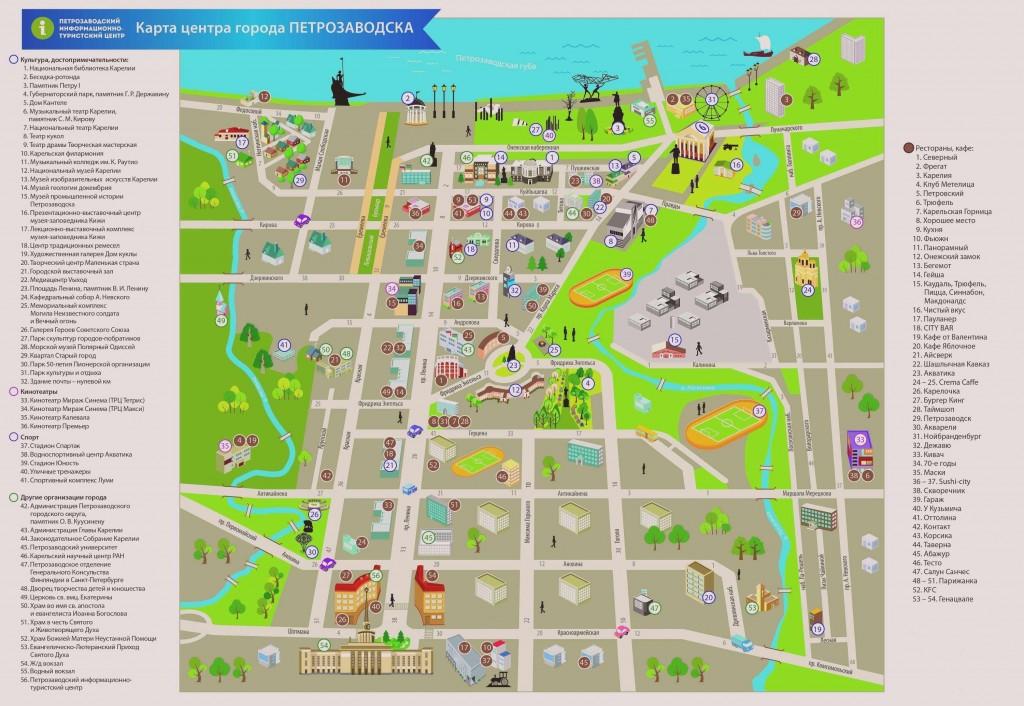 Туристическая схема центральной части Петрозаводска